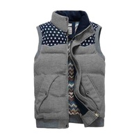 New 2014 Spring Fashion Style Men Vest Warm Thick Stand Collar Colete Masculino Size M L XL 2XL 3XL