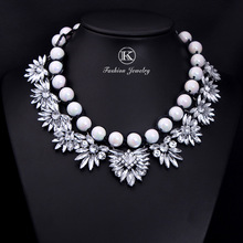 Newest wholesale Shourouk Big Gorgeous Brand Black and white Pear Statement Crystal Necklace Choker Pendant Chain Women Jewelry