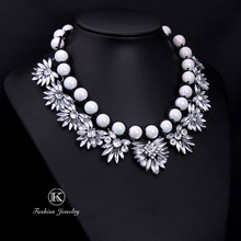 Newest wholesale Shourouk Big Gorgeous Brand Black and white Pear Statement Crystal Necklace Choker Pendant Chain