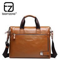 Genuine leather business man handbag casual male shoulder bag men cowhide 14 inch laptop bag