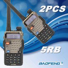 2Pcs BAOFENG UV-5RB Walkie Talkie VHF/UHF 136-174/400-520MHz  Dual Band portable Radio Handheld Tranceiver + free PPT earphone