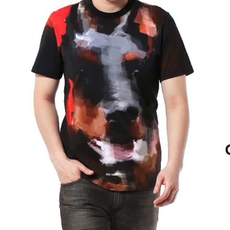 2014 summer new givenc* y Men Cotton T-shirt Doberman dog head flower patterned short-sleeved T-shirt fashion(China (Mainland))