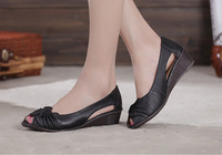 2014 Summer New Slope With Comfortable Leather Pedicure Toe Layer of Leather Sandals Fish Head with shoes in  Freel Shopping