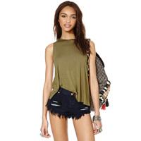 Women's Rough border Tank placketing double mercerized cotton sleeveless o-neck t-shirt vest Plus size XS-XXL WI308