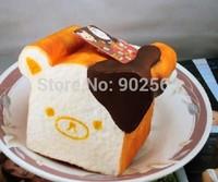 2014 new RARE super jumbo anime aoyama tokyo japan rilakkuma toast squishy charm pendant PU 14cm very soft with tag toy strap