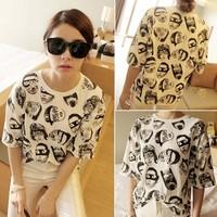 New 2014 Fashion Summer Womens Clothing head printed Short-Sleeve T shirts Cotton O-neck T-shirt Top Free shipping