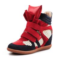 Cutout shoes velcro elevator sports color block decoration single shoes casual high-top shoes female shoes