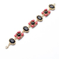 luxury gold 2014 new gem flower summer bracelets & bangles fashion joker red and black resin bracelets for women high quality