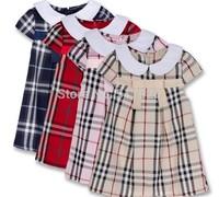 Hot Sale New Arrive Korean Summer girl's plaid Dresses children Clothing Princess dress free shipping S-XXL