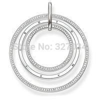 wholesale women gift ts new ts0713 necklace pendant 4.5cm three rount white stone 2 PCS A LOT