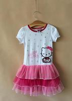 Fashion girls short-sleeve dress  hello kitty Kids   Tutu dress