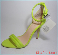 New 2014 Plus Size 33-41  Neon Green White Women Open Toe High Heels belt Sandals Women's Sandals heel Shoes for Women