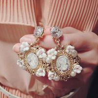 2014 wholesale vintage baroque glass head cutout flower oval with rhinestones dangle earrings fashion drop earrings women x145