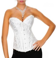 2014 Free Shipping High Quality CL4041 Low Price Sexy Womens Whtie Wedding Corset Lace Bustier Corsets for Ladies Size S M L XL