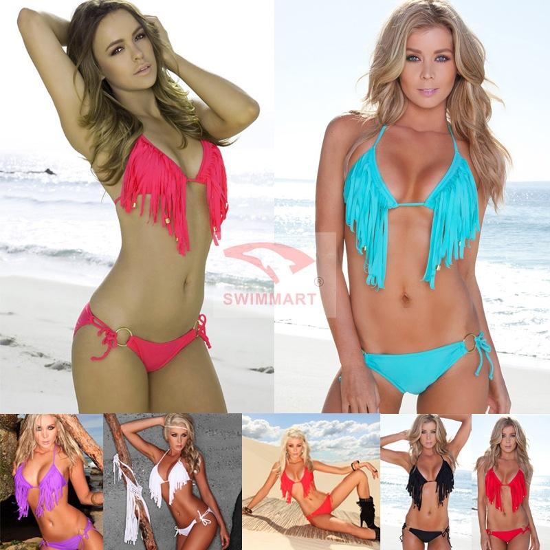 Hot Sales! 2014 Summer New Fashion Ladies Fringed Bikini With Beaded And Loop DM-DM051(China (Mainland))