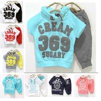 Free shipping hooded T-shirt+pant CREAM 369 SUGARY children set, wholesales 144