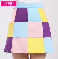 New Women's Patchwork Bust Skirt OL Slim Skirts Space Cotton Stitching Color Plaid Skirt Silk Cotton Color Block Short Skirt