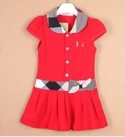 new arrive   Fashion girls short-sleeve dress children summer casual cake   dress 5pcs/lot, size 80-120