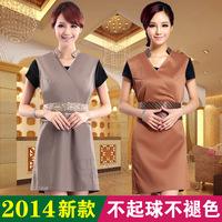 Summer women short sleeve beauty salon spa uniform dress with belt