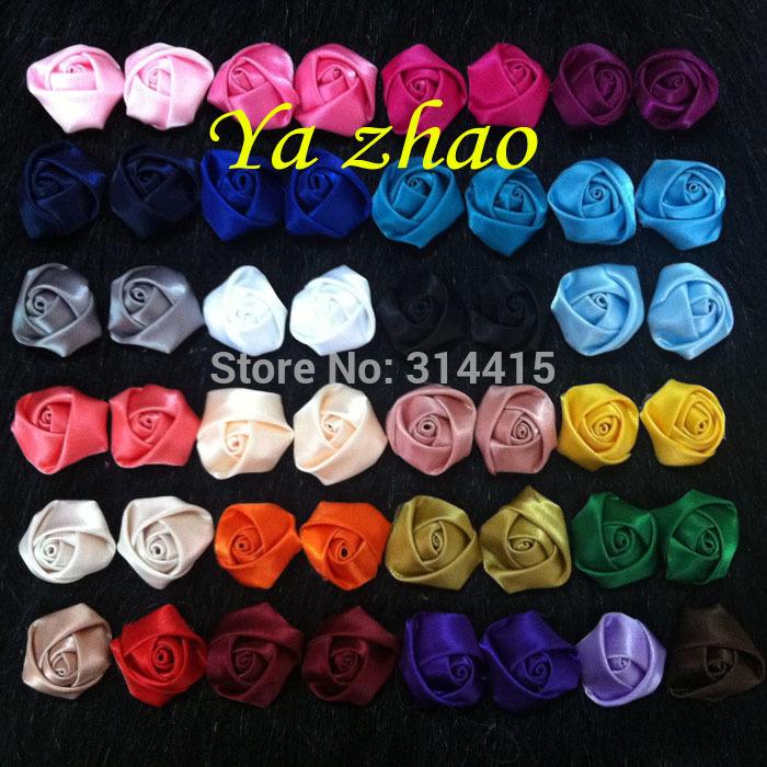 0.8'' Mini satin rolled rosette , satin rose flower,DIY Hair flower 130pcs/lot 26 color free shipping(China (Mainland))