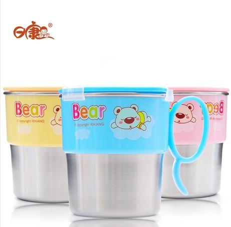 A ангел младенцы чашки дети продукт мягкий солома чаша нержавеющая сталь вакуум чаша школа питьевой чаша дети фляжка для воды