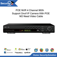 POE NVR For IP Camera Onvif NVR 4 Channel 960P NVR H.264 CCTV DVR 1080P HDMI Output  With 3g wifi P2P Cloud PTZ Contral