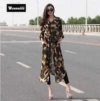 2014 New summer Chiffon shirt cardigan shirt dress camouflage dress S M L XL XXL