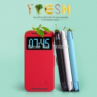 Original Nillkin Fresh Series Flip PU Leather Case For HTC New One M8 With Retail Package, Free Shipping