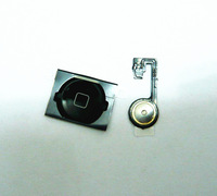 (10pcs/lot) Home Menu Button Flex Cable + Black Key Cap For iPhone 4S