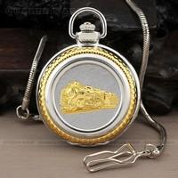PQ085 - Gold Silver Case Gold Train Fashion Roman Numerals Large Dial Men Quartz Pocket Watch + Chain