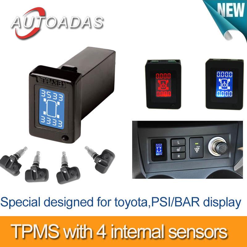 freeshipping car tpms for toyota,show 4 wheels pressure at same time ,PSI/BAR option,4 internal sensors,tyre pressure monitoring(China (Mainland))