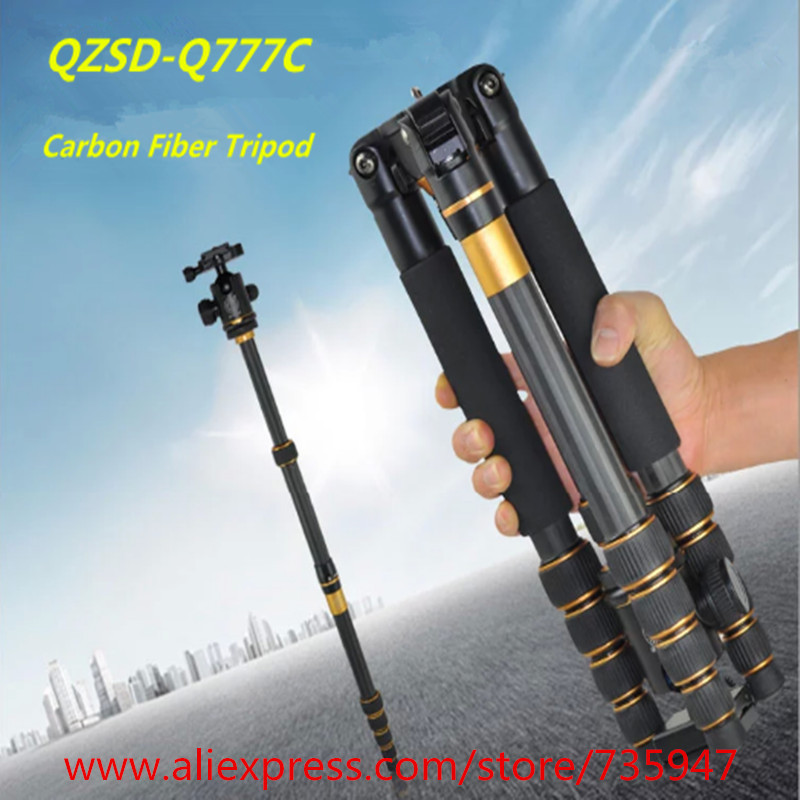 Q 777C Pro Portable Carbon Fiber Tripod Monopod Q777c Tripod Ball Head Pocket as climbing battle