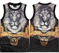 TOP quality 2014 Mens Hip hop lion men round collar sleeveless back coat Free shipping