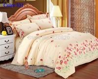 Wholesale - Warm Beige Floral Bedding set Duvet Cover Home Textiles 4pcs Bedclothes king Queen Size Bedding Bedcover bedlinen