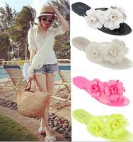Women's Sandals 2014 Summer Beach camellia sandal flower melissa jelly shoes flip flops slippers lady flat shoes