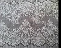 Eyelash Scalloped EgdeChantilly Lace Trim Fabric for Wedding Gown Dress ,Wedding Veil, 3 meters per pc