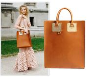 Sophie hulme PU Leather Handbag hardware Square Black Tote Bags Sac Desigual Gift box packaging/NO accessories