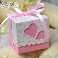 50pcs Laser cut violet  and pink Butterfly Wedding coloured ribbon Candy Box Favor Box wedding party gift present Chocolate Box