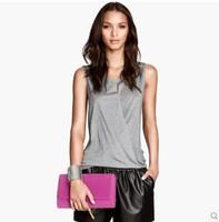 Fashion 2015  Women Brief Elegant Design Solid Color Mercerized Cotton Sleeveless T shirt tank top