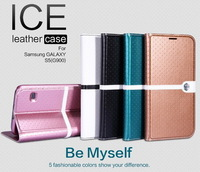 For Samsung Galaxy S5 G900 Nillkin ICE Series Flip Cover Stand Protective Leather Case For Galaxy S5 + Screen Film Free Shipping