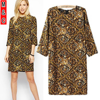 M&C S2  2014 new  spring summer vintage print Bohemia women casual dress sexy