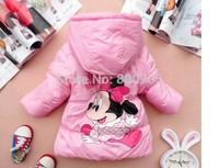 retail children/kids winter clothing minnie  jacket character jackets girls coat cartoon coats hood cute Outerwear for girl