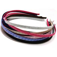 5MM Satin Ribbon Wrapped Metal Headbands , 5mm Fashion satin covered metal hair bands 55pcs/lot free shipping