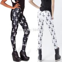 New 2014 fashion hot sale style cheap cross print high elastic leggings for women