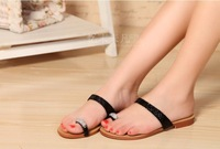 2014 summer female slippers women's shoes flat shoes all match casual brief fashion black white