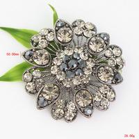 P1299-016 Free Shipping 10PC/Lot Brosche Silber Glitzersteine Kristalle Herz Blumen Hochzeit Braut Dekoration