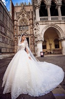 Arabic New Luxury Ball Gown Beading Lace Applique V-neck Formal Wedding Dresses
