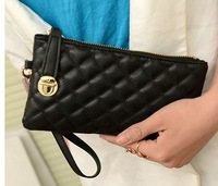 new arrival 2014 women's  locked day clutches women's wallet small bag vintage lock plaid black coin purse