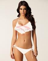 Sexy Swimwear Beach Flouncing Halter Style Bikini Set