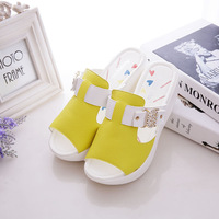 free shipping 2014 women woman casual fashion platforms Fish mouth boat shoes yellow white  flat Sandals